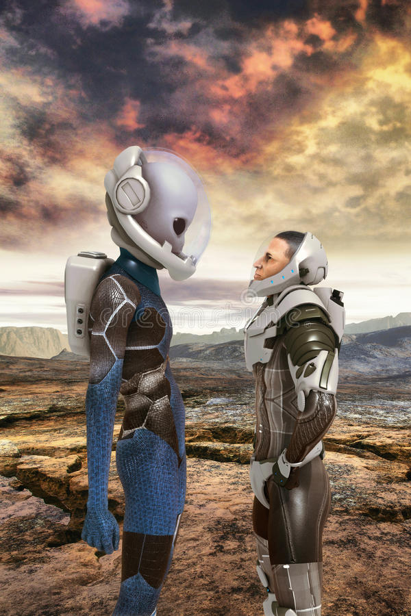Alien and human astronauts encounter. 3D render science fiction illustration royalty free illustration