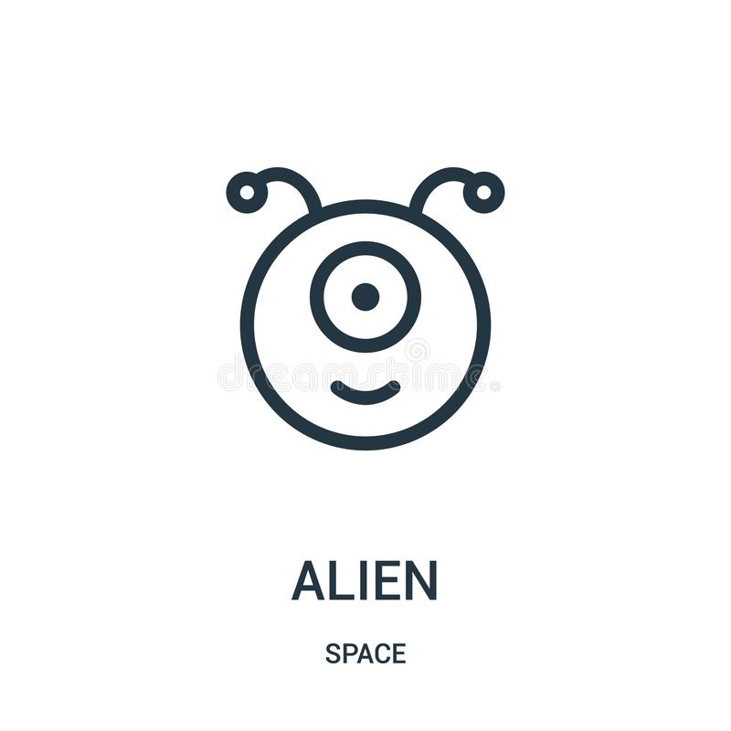 alien icon vector from space collection. Thin line alien outline icon vector illustration stock illustration
