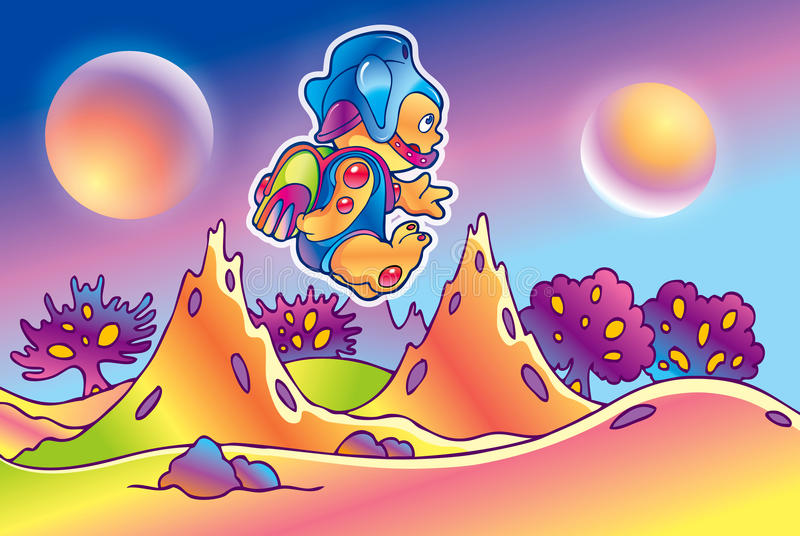 Cartoon alien flying over the planet stock images
