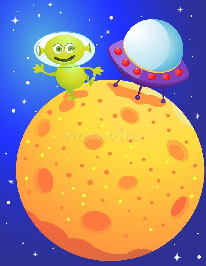 An alien landing on a planet. Illustration of An alien landing on a planet royalty free illustration