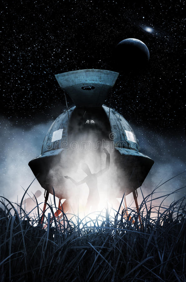 Alien landing. A spaceship lands in a field filled with the after glow of the rocket boosters. Planets and stars fill the sky. Two aliens are exiting the