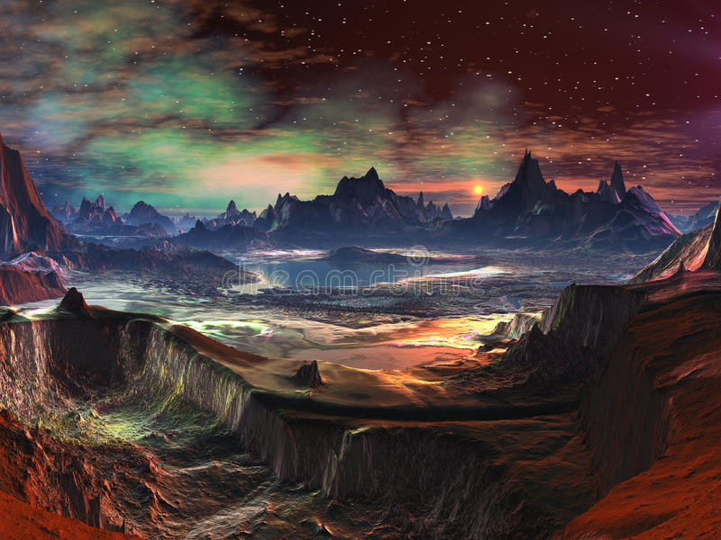 Alien Landscape - Firewalk Canyon. View of vibrant alien landscape with distant mountains and gaseous nebula in sky above vector illustration