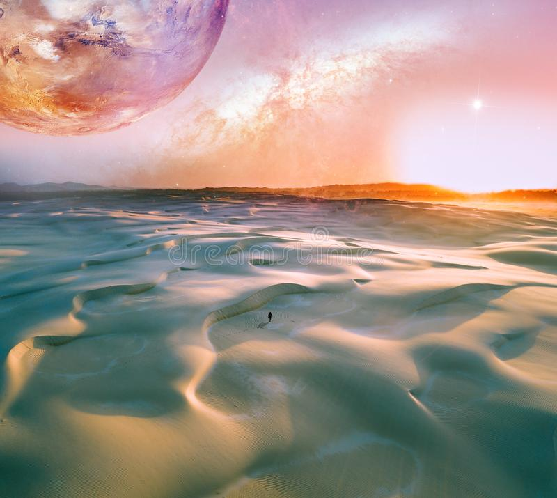 Alien landscape of sunrise over pristine sand dunes with lonely person walking. Elements of this image furnished by NASA. stock illustration