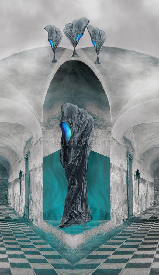 Alien - The light coming out of the face of Hooded Figure. Hooded Figure in the castle without faces. The light coming out of the face. The floor is on black and royalty free stock photography