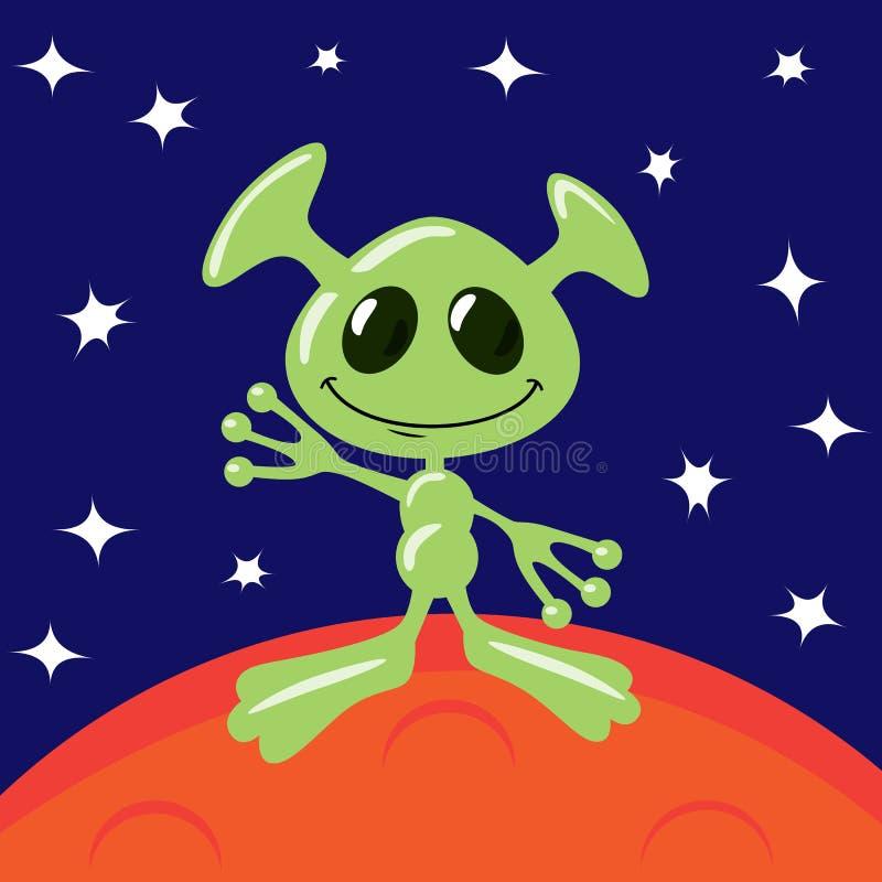 Alien on Mars vector illustration