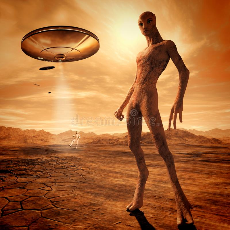 Alien in Mars royalty free illustration