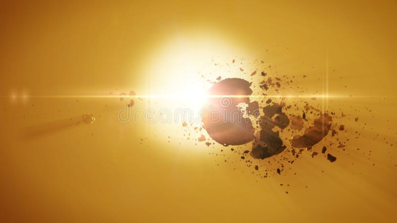 Planetary destruction around an alien star stock illustration