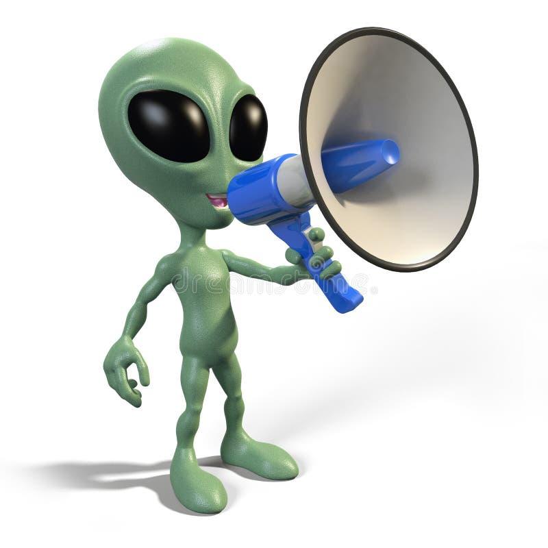 Alien with megaphone vector illustration