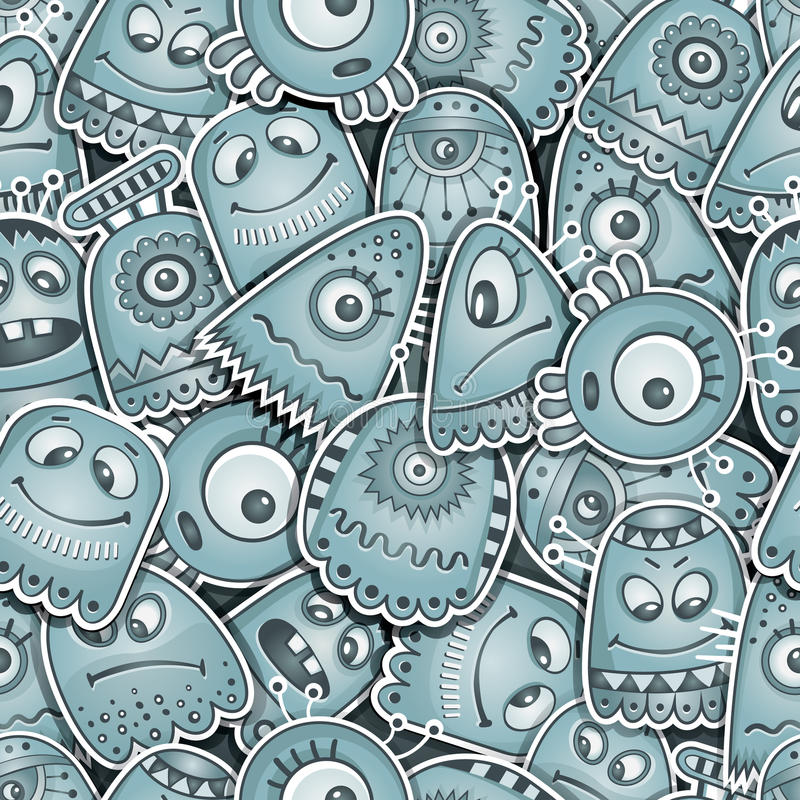 Alien and monsters seamless pattern. Vector cartoon Alien and monsters seamless pattern vector illustration