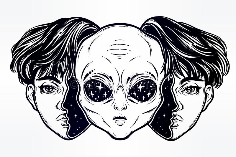 Alien from outer space face in disguise as a boy. royalty free illustration