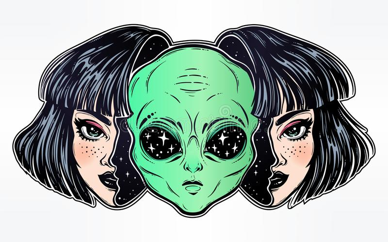 Alien from outer space face in disguise as a girl. stock illustration