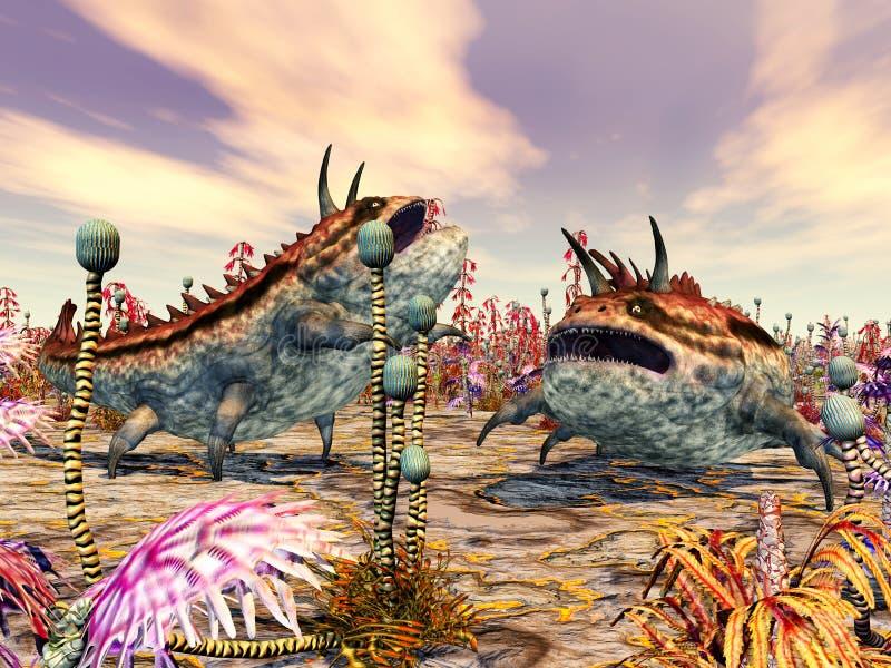 Download Alien Planet With Alien Creatures Stock Illustration - Illustration: 32175751