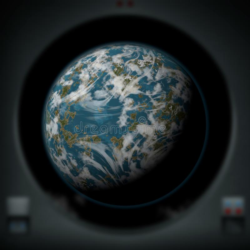 Alien planet as seen from a spaceship window stock illustration