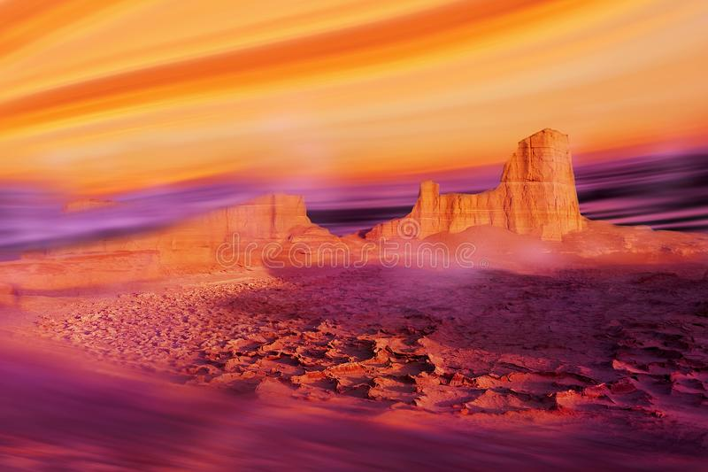 Alien planet concept. Ultra violet and yellow desert landscape stock photos