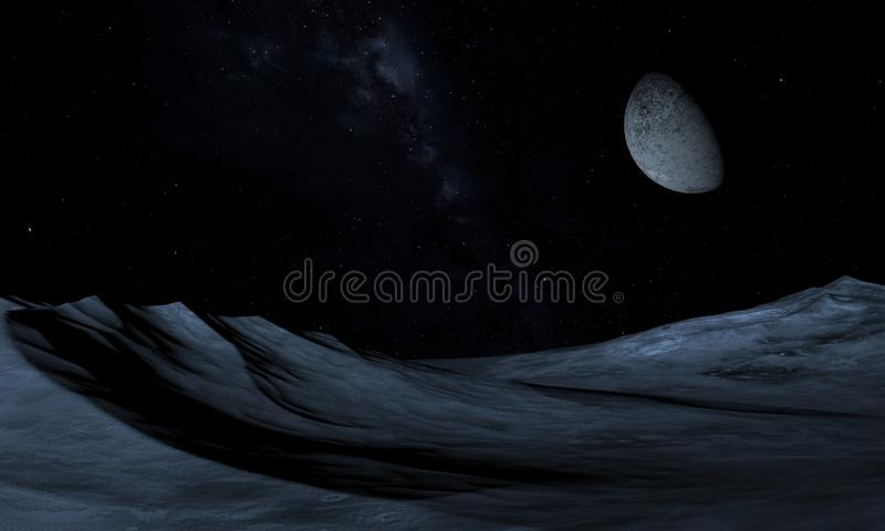 Alien Planet - 3D Rendered Computer Artwork. Rocks and moon royalty free illustration