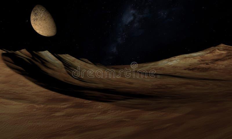 Alien Planet - 3D Rendered Computer Artwork. Rocks and moon.  vector illustration