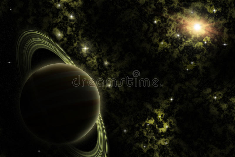 Alien planet in the deep Space. An illustration of an alien planet with stars and nebulae in deep space royalty free illustration