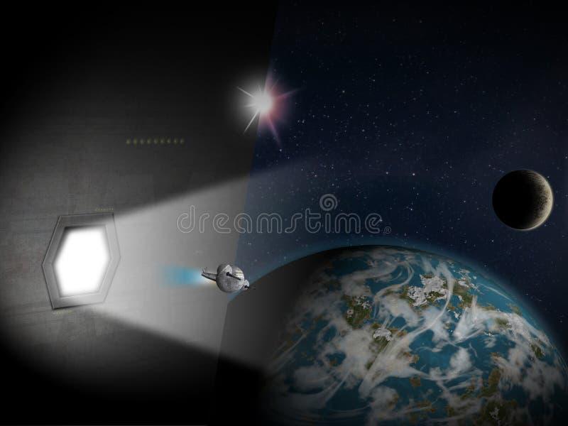 Alien Planet fantasy space scene vector illustration