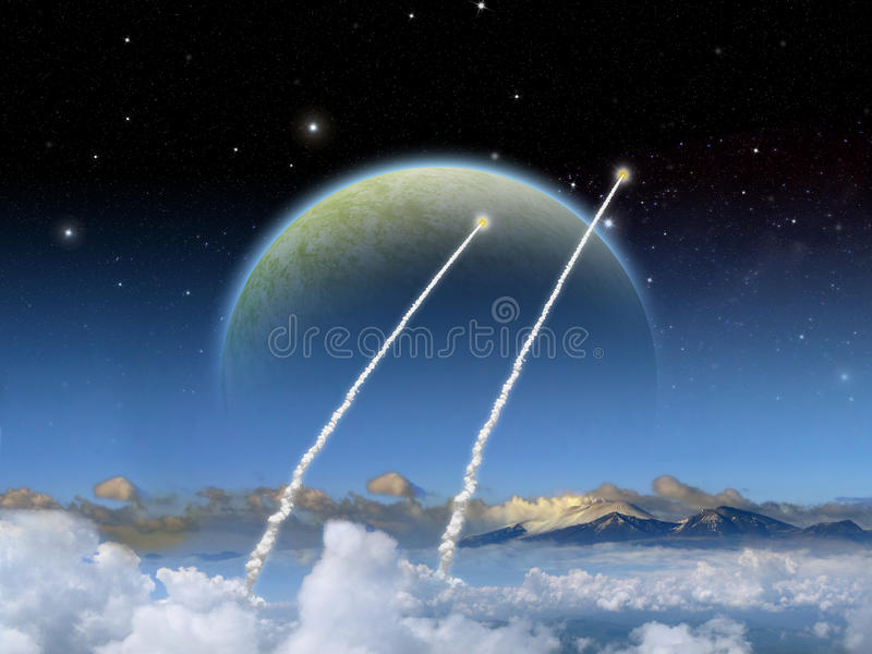 Alien Planet fantasy space scene rocket launch. Alien planet. Two rockets launch as a large moon rises of an alien world. - Artist impression of fantasy royalty free illustration