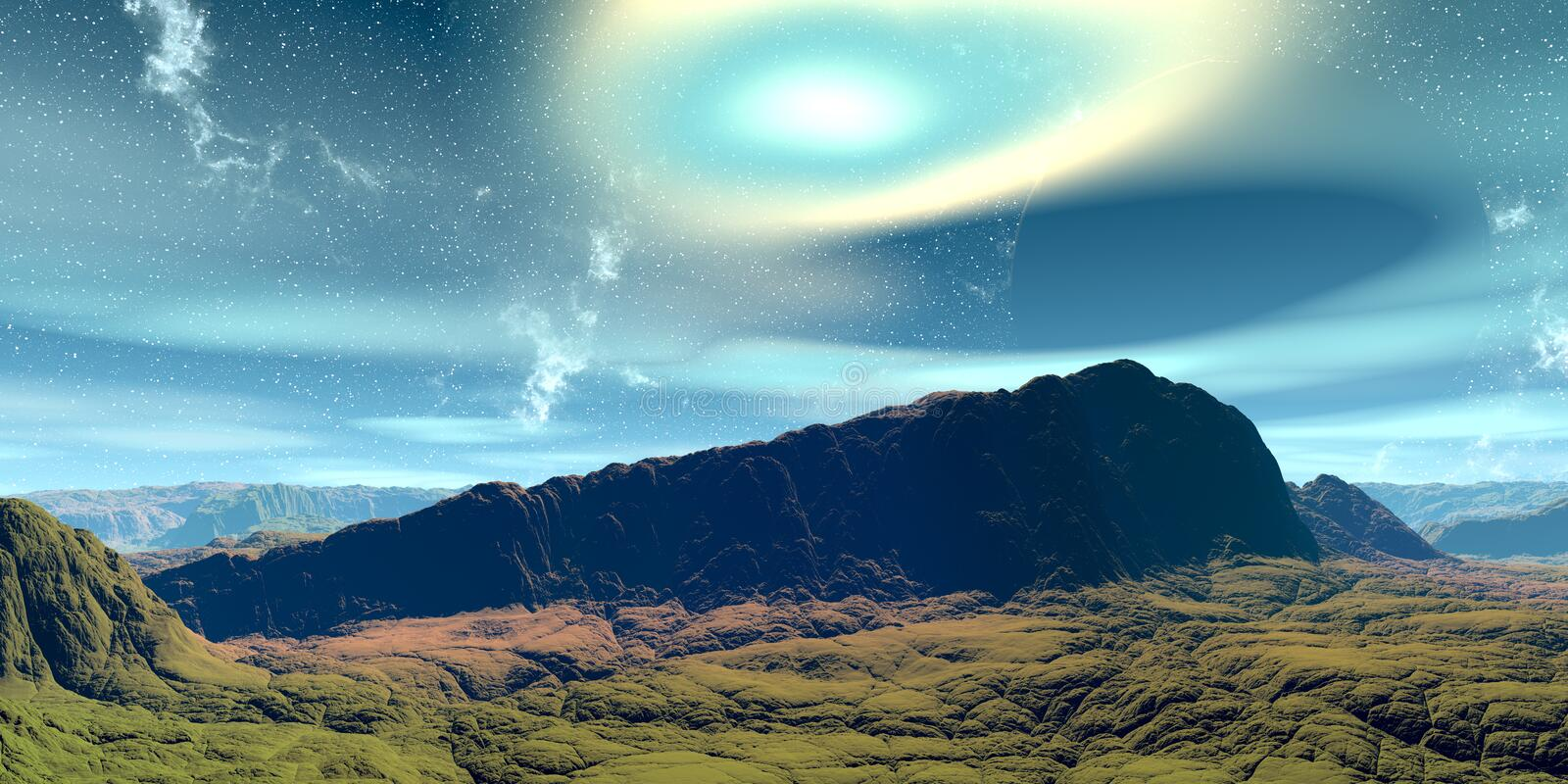 Alien Planet. Mountain. 3D rendering vector illustration