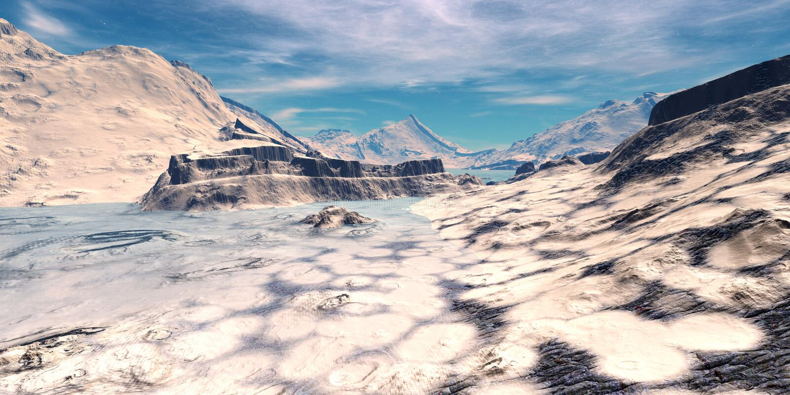 Alien Planet. Mountain and lake. 3D rendering royalty free illustration