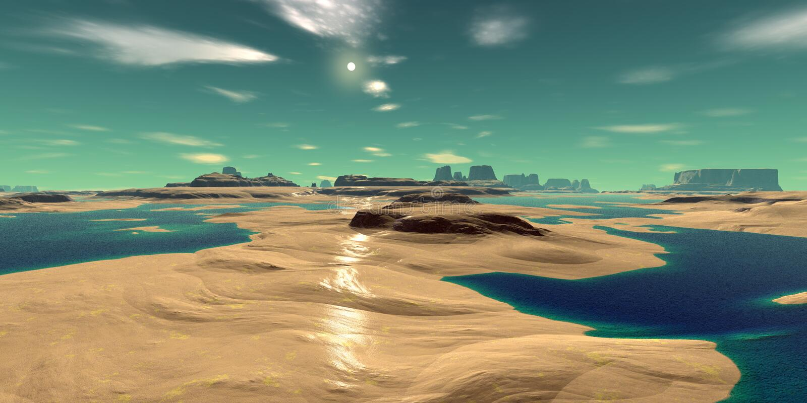 Alien Planet. Mountain and lake. 3D rendering vector illustration