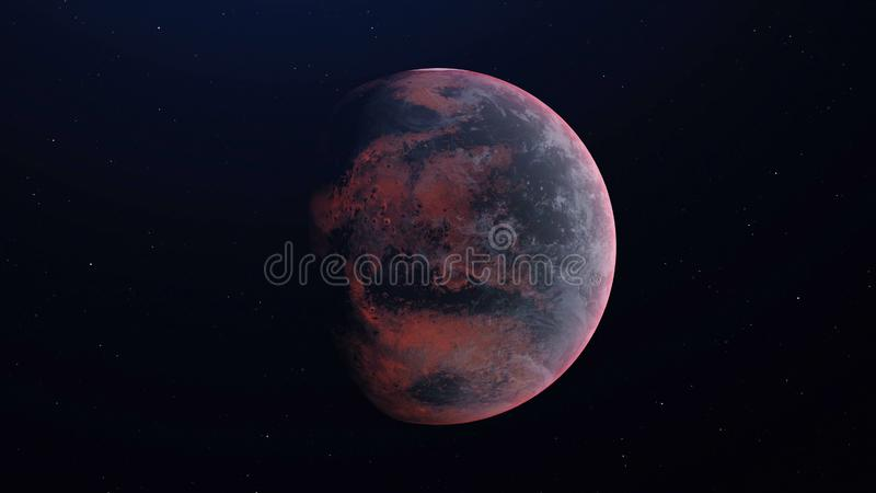 Alien Planet in the outer space - 3D Rendered royalty free illustration
