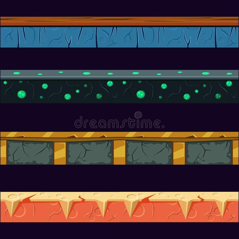 Free Alien Planet Platformer Level Floor Design Set Royalty Free Stock Images - 69359229