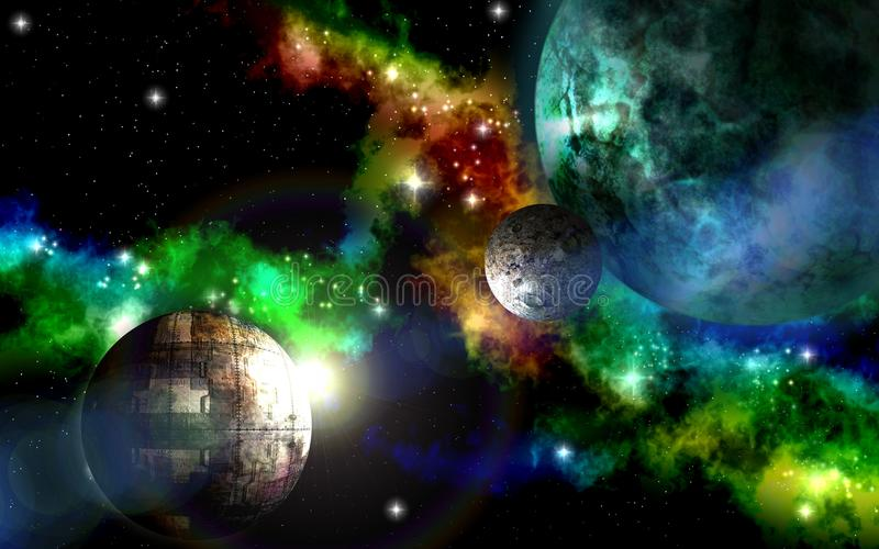 Alien planet in space. Deep outer space background with stars and nebula stock illustration