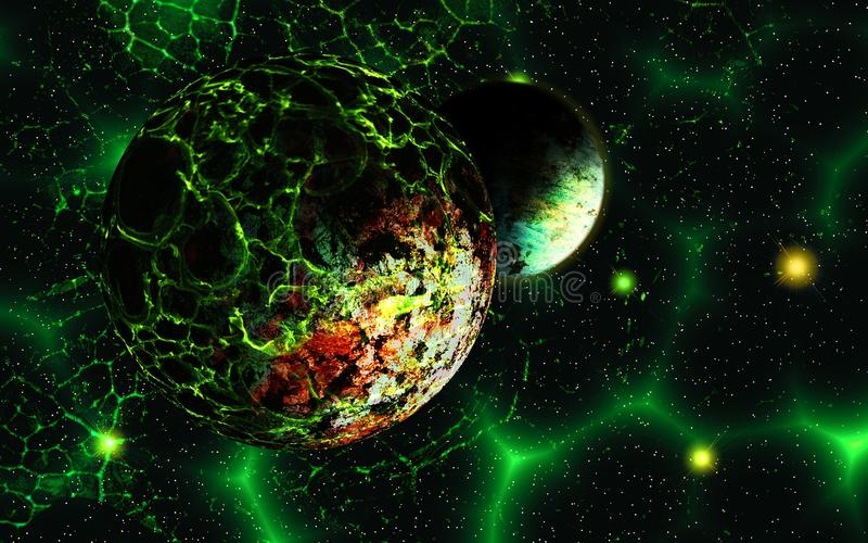 Alien planet in space. Deep outer space background with stars and nebula royalty free illustration