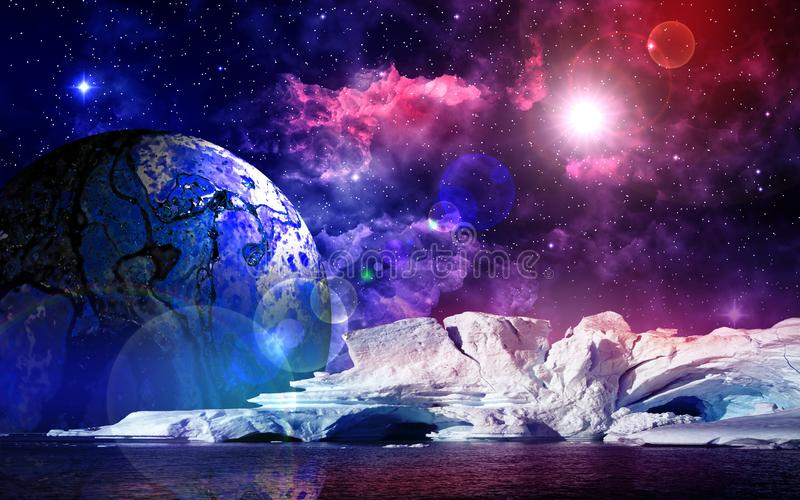 Alien planet in space. Deep outer space background with stars and nebula vector illustration