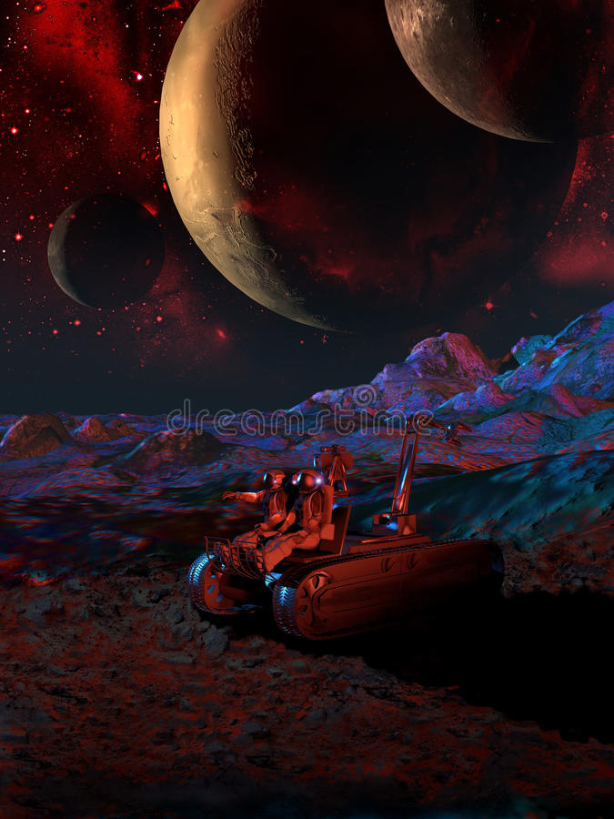 On alien planets. Cosmonauts exploring an alien planet with a land vehicle stock illustration