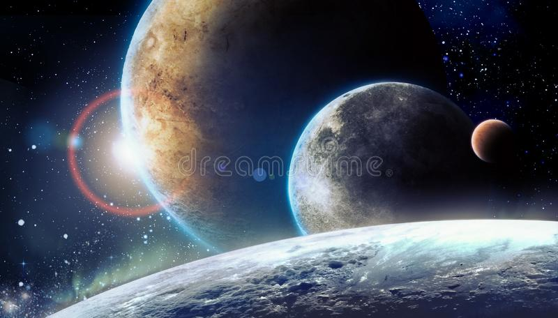 Planets in space stock illustration