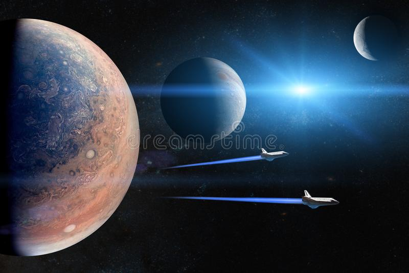 Alien planets. Space shuttles taking off on a mission. royalty free stock photos