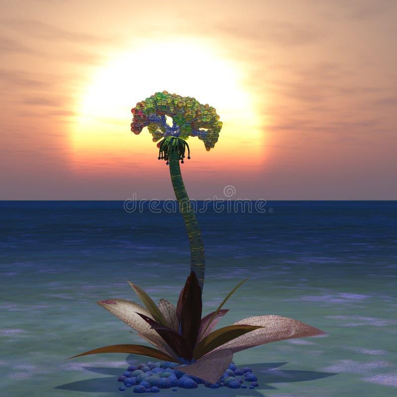 Sunrise Alien Plant royalty free illustration