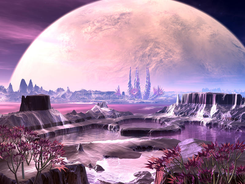 Alien Plant Life on Faraway Planet. View across an alien landscape with native plants and lakes stock illustration