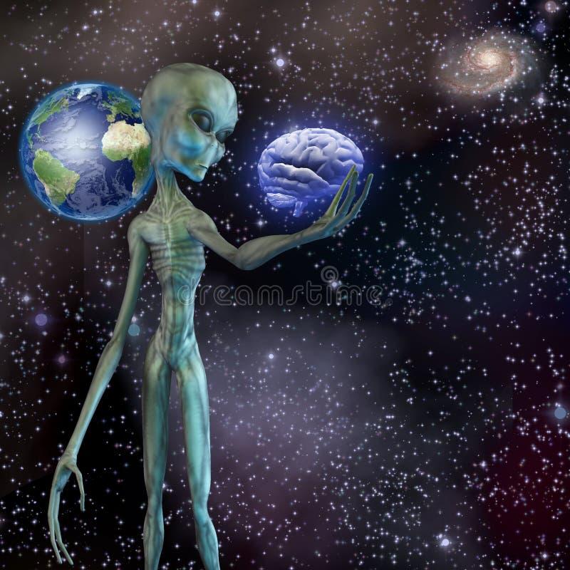 Alien ponders human brain stock illustration