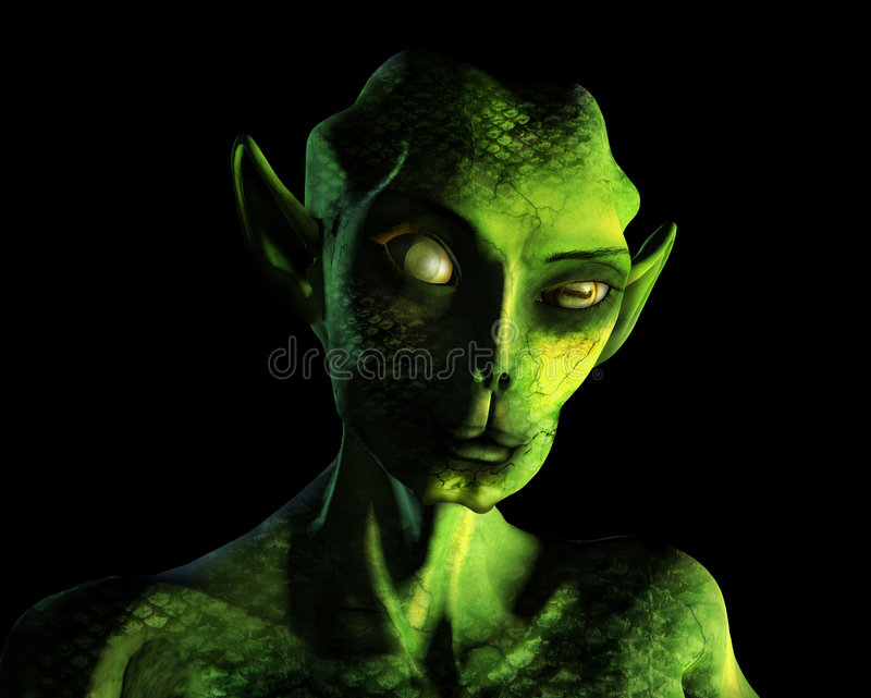 Alien Portrait - with clipping path stock illustration