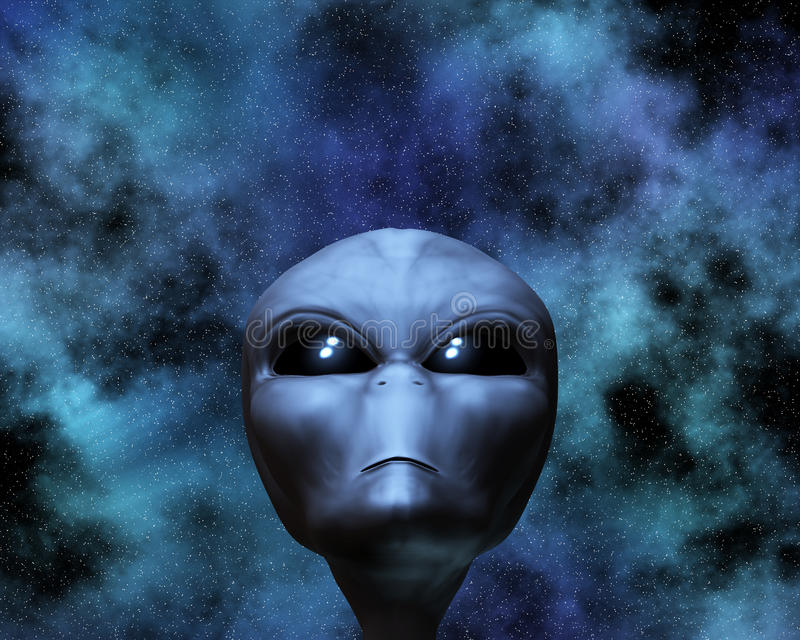 Alien portrait with stars vector illustration