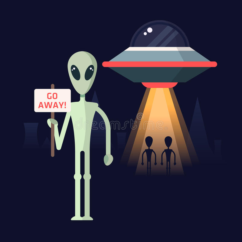 Alien with the protest template stock illustration