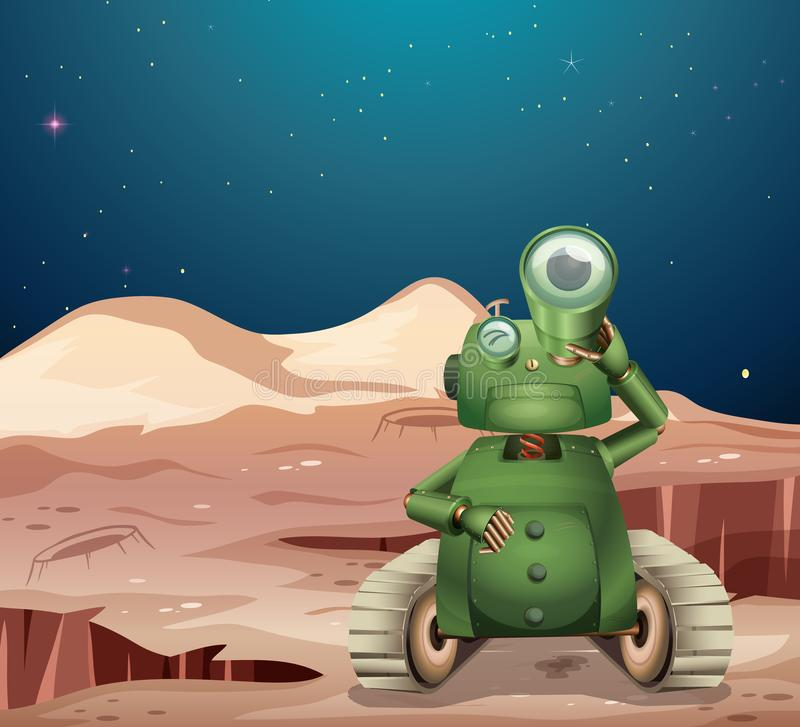 Alien robot on mars scene stock illustration