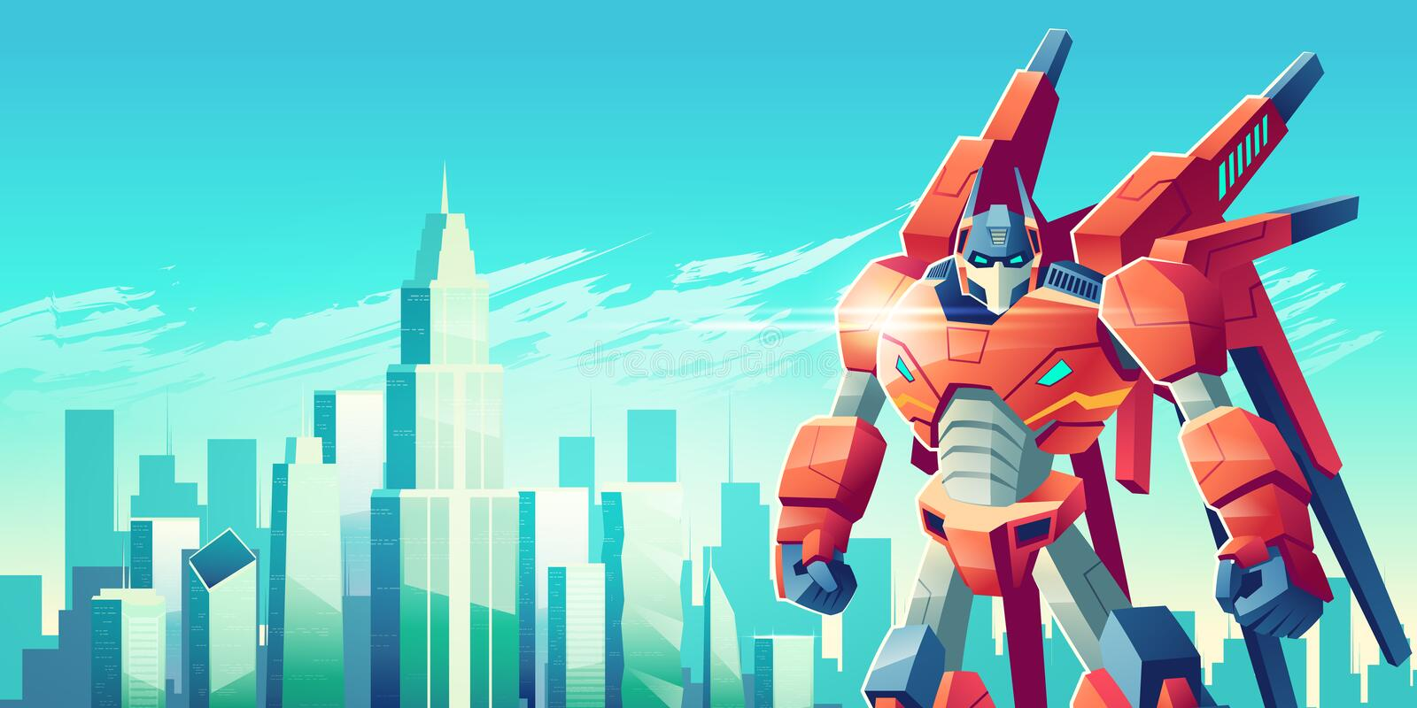 Alien robot warrior in metropolis cartoon vector. Powerful transformer robot warrior standing with clenched fists on background of modern city skyscrapers towers stock illustration