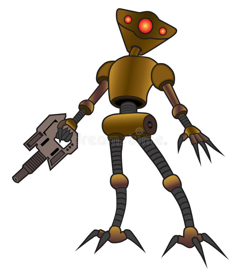Alien Robot with Weapon stock illustration