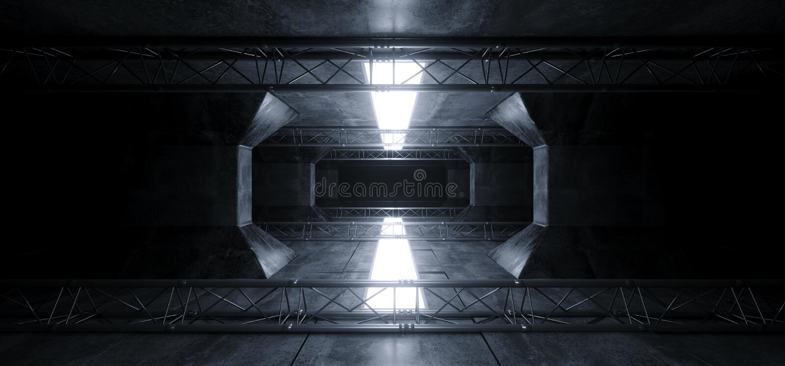 Alien Sci Fi Led White Glowing Dark Light Lines In Futuristic Modern Construction Stage Tunnel Grunge Concrete Reflections royalty free stock images