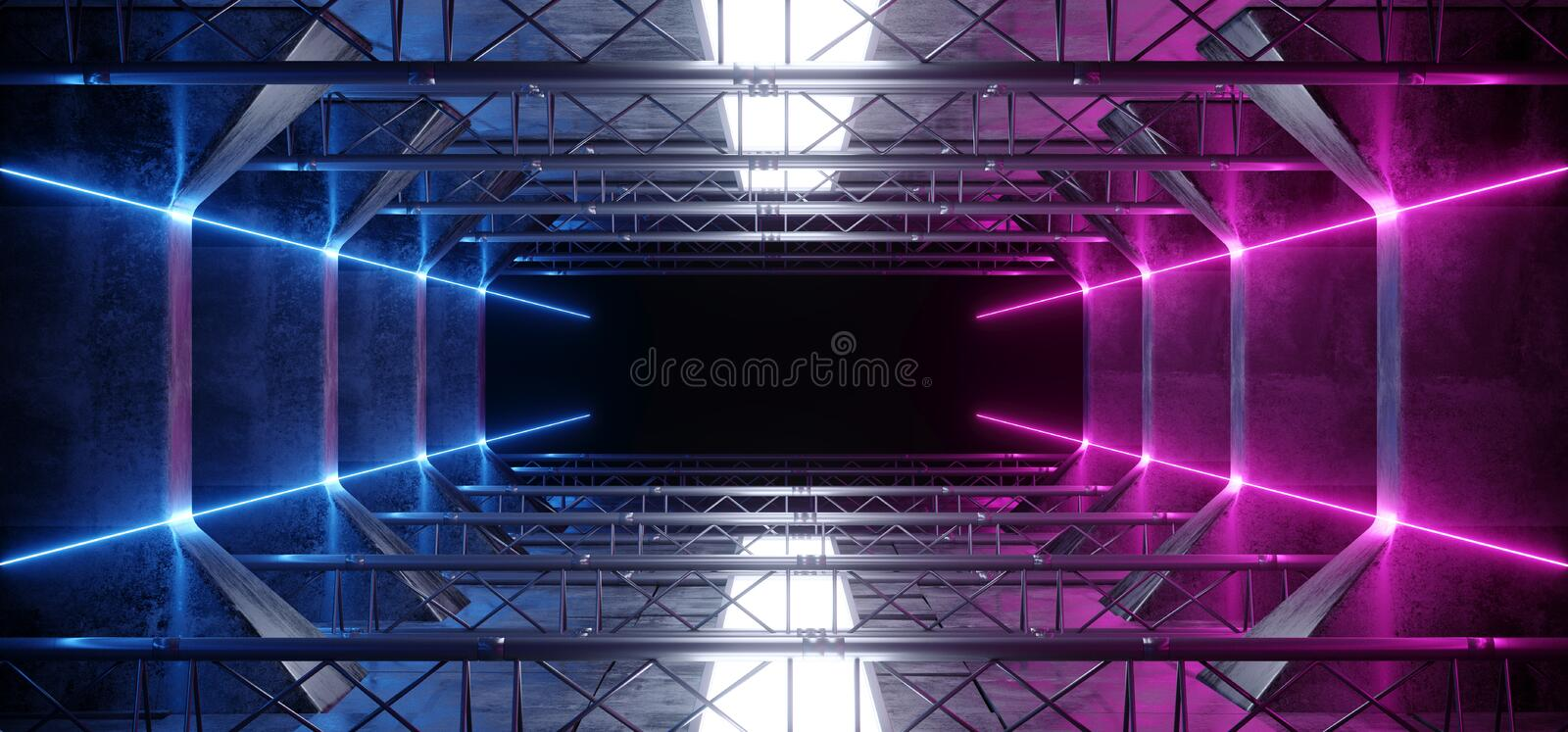 Alien Sci Fi Neon Led Laser Vibrant Purple Pink Blue Glowing Dark Light Lines In Futuristic Modern Construction Stage Tunnel royalty free stock photo