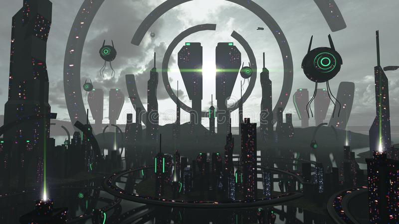 Alien scifi city in futuristic black and neon effects. 3D rendering vector illustration