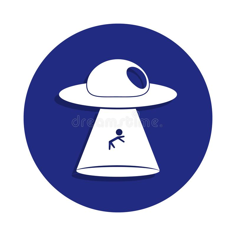Alien ship steal sheep icon in badge style. One of Space collection icon can be used for UI, UX. On white background stock photos