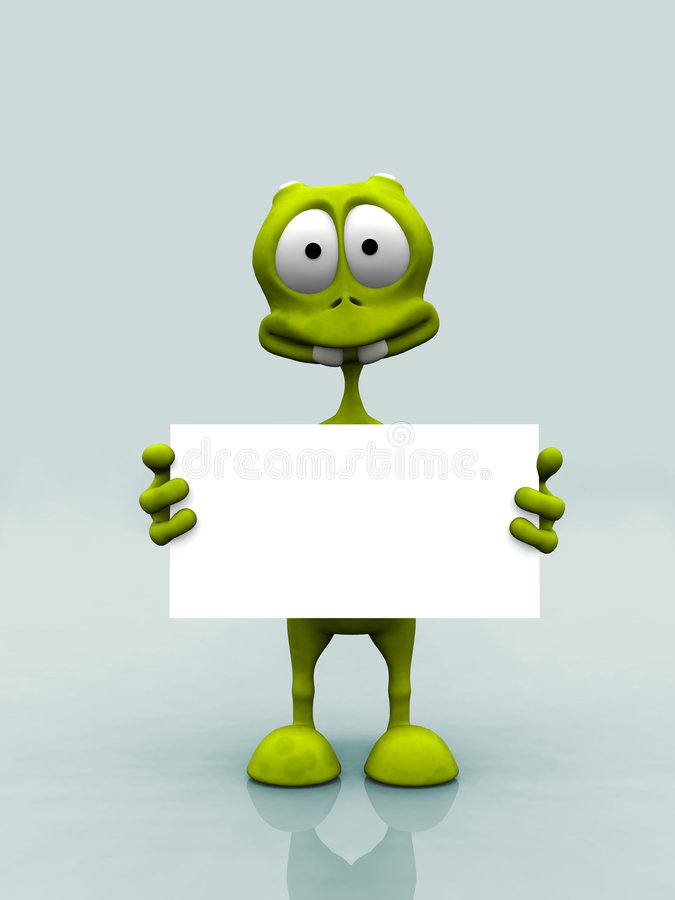 Alien with sign stock illustration