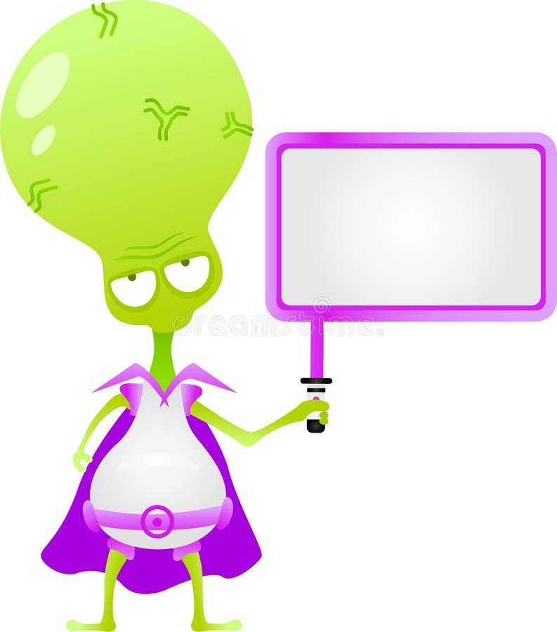 Alien signboard. Cartoon characters series- alien signboard vector illustration