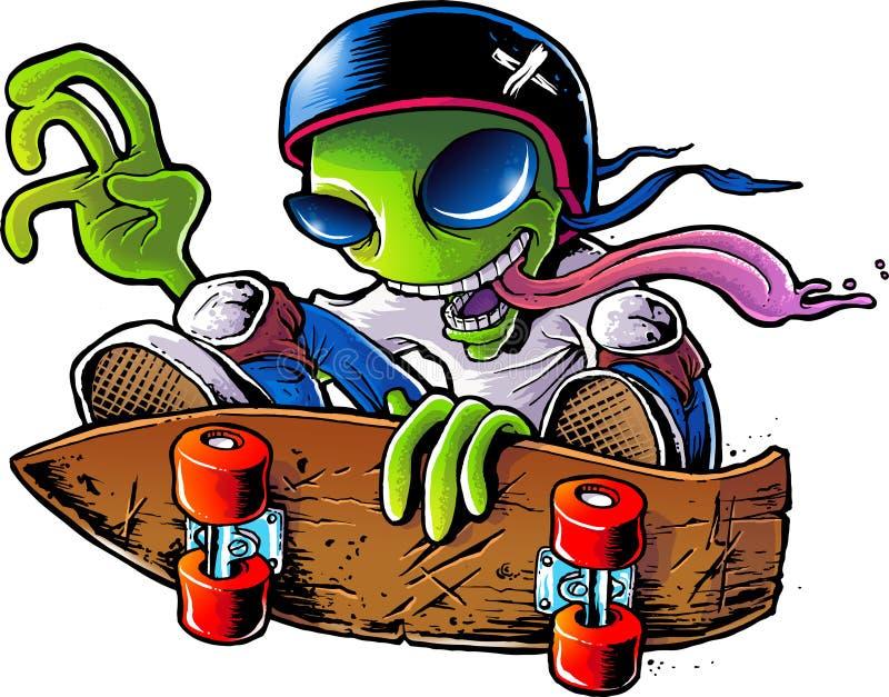 Download Alien Skater stock illustration. Image of green, tongue - 28422762